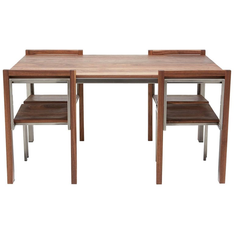 Walnut and Antique Nickel Dining Set with Four Dining Chairs For Sale