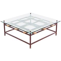 Glass and Marbled Rust Coffee Table with Swiss Military and Oxblood Belts