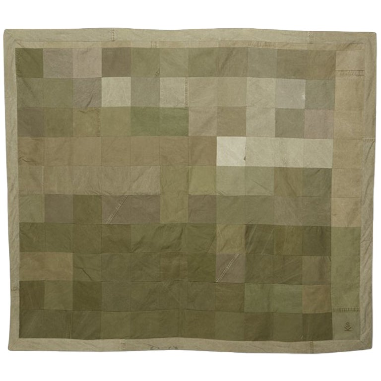 Quilted Vintage Military Canvas Throw Blanket