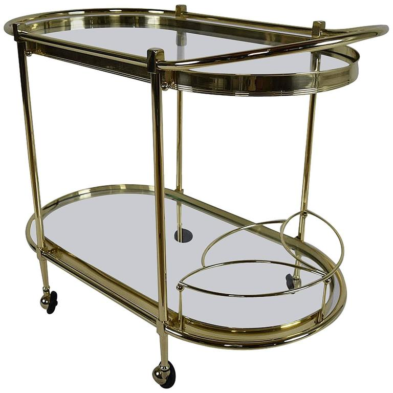 Oval Shaped Two-Tier Brass Italian Bar Cart