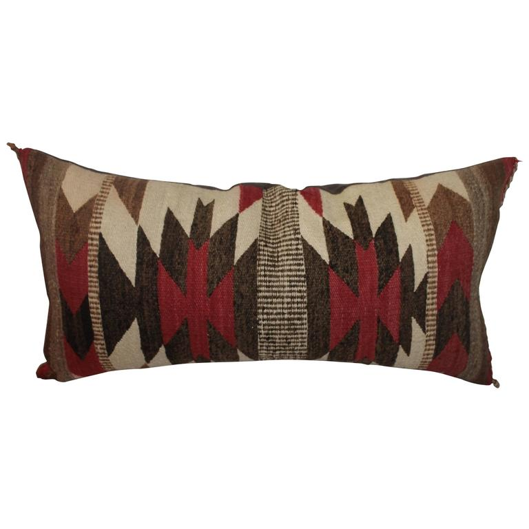 Geometric Navajo Indian Saddle Weaving Pillow