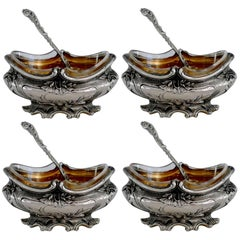Puiforcat French Sterling Silver 18k Gold set of Four Salt Cellars with Spoons