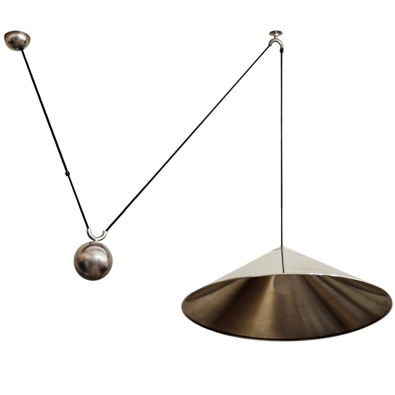 Large German Vintage Adjustable Counterweight Pendant Lamp by Florian Schulz