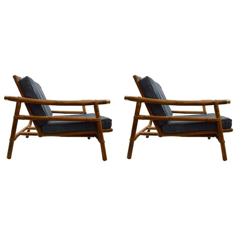 Stylish Pair Of John Wisner For Ficks Reed Bamboo Lounge