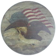 Patriotic 19th Century American Eagle and Flag Pine Wall Plaque