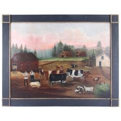 19th Century Farmyard Scene with Livestock and Barns