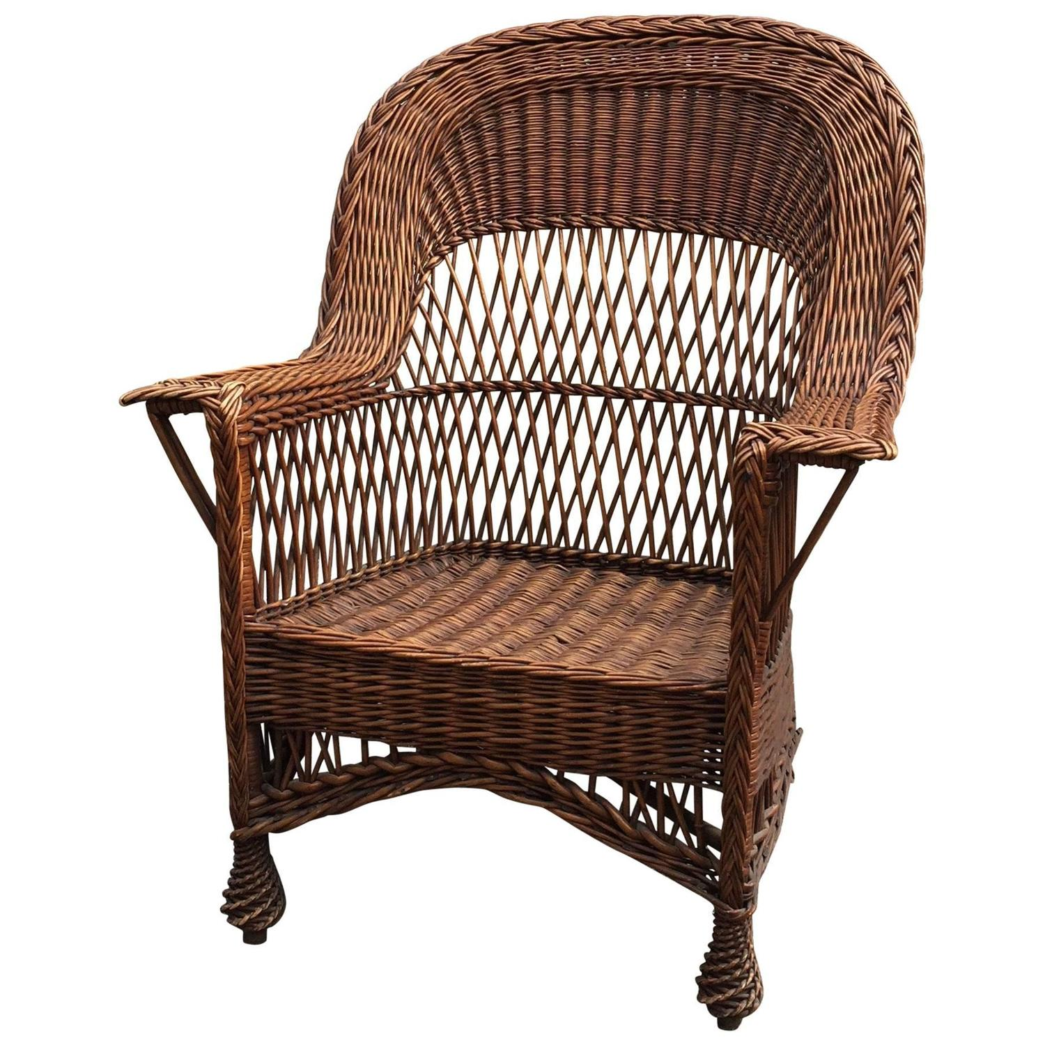 Antique Willow Wicker Chair - Vintage Wicker Veranda Chair With African Mudcloth Cushion For