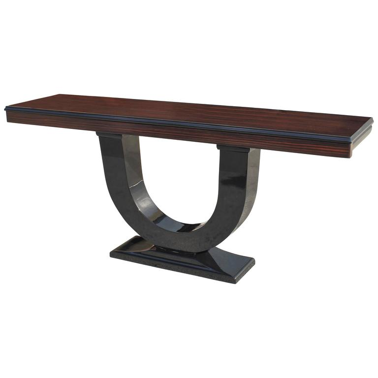 Spectacular French Art Deco Exotic Macassar Ebony Console Tables, circa 1940s For Sale