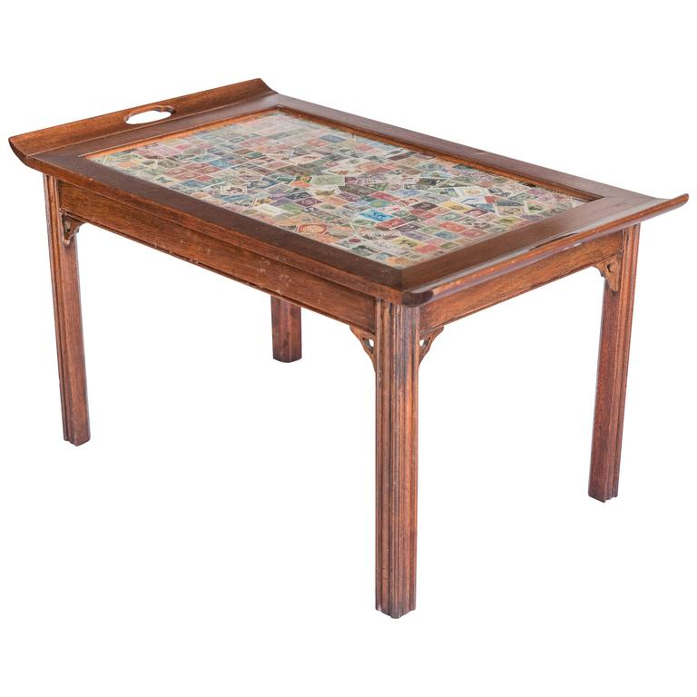 Custom Butler Style Coffee Table With Postage Stamp Top, 20th Century
