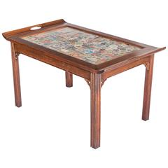 Custom Butler-Style Coffee Table with Postage Stamp Top, 20th Century