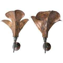 Mid-Century Italian Bronze Hand Sconces, Pair