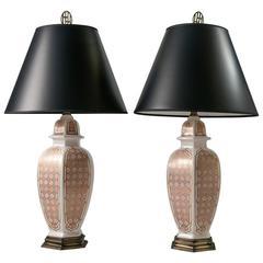 Mid-Century Gothic Print Ceramic Table Lamps, Pair