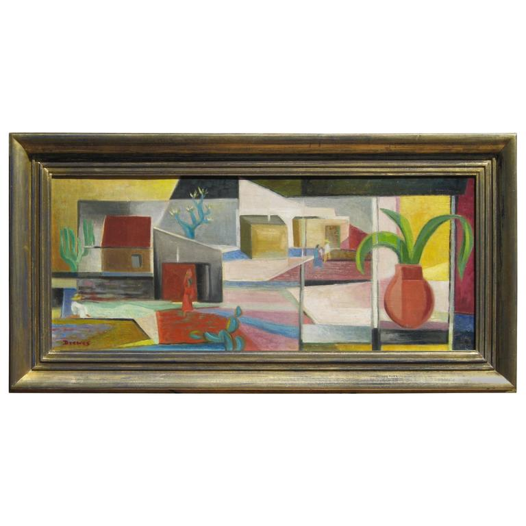 Werner Drewes Modernist American Painting, Southwest Subject, 1947