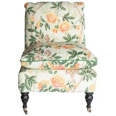 Slipper Chair in Brunschwig and Fils Fabric, 20th Century