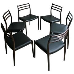Niels Otto Moller Rosewood Dining Chairs, Set of Six
