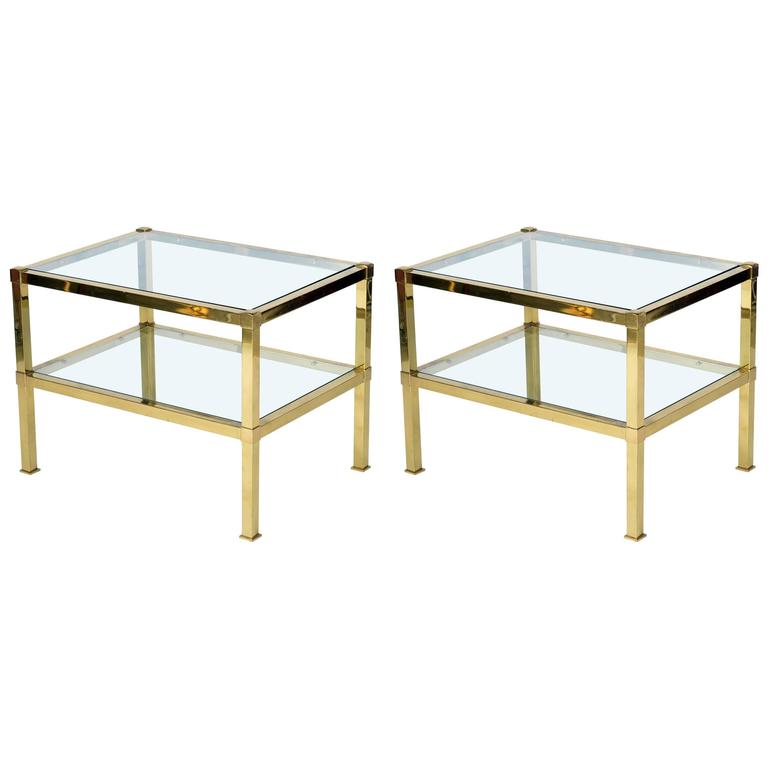 Pair of Italian 1970s Mid-Century Brass Big Side Table or Nightstand