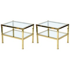 Pair of Italian  Midcentury Brass Side Table or Nightstand,1970s