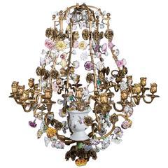 "Louis XV Gilt Bronze with ""C Couronné"" and Meissen Porcelain Chandelier"