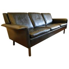 Arne Vodder Black Leather Sofa