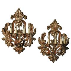Florentine Pair of Silver Giltwood Wall Lights