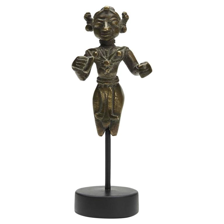 Antique Indian Mounted Bronze Deity Figure, 18th Century