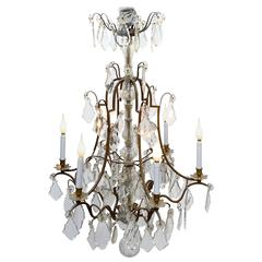 Louis XV Style Bronze Candelabra with Crystal Pendants, 20th Century