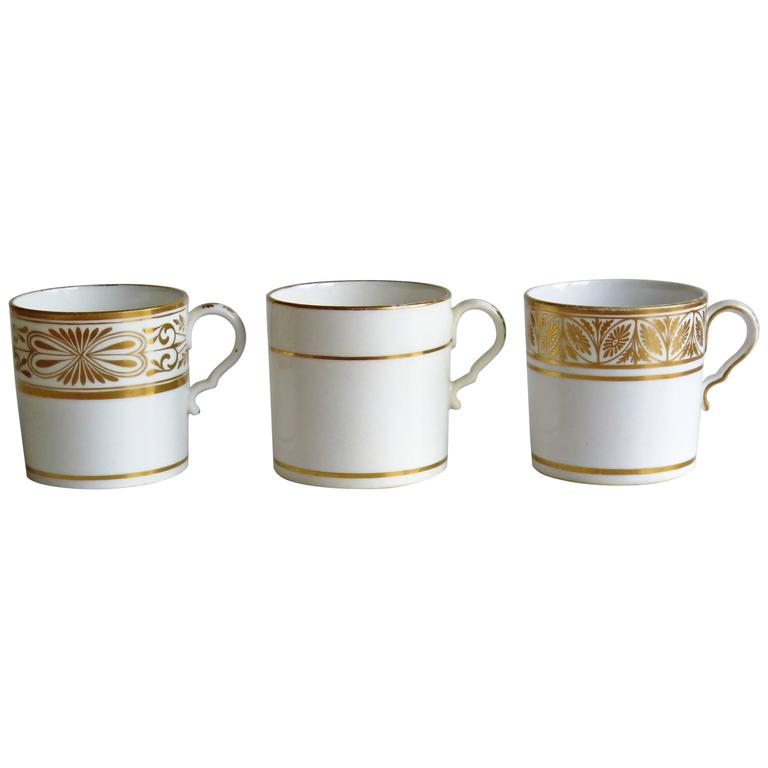 Three Georgian Spode Coffee Cans Porcelain Hand Gilded, circa 1810
