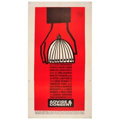 Large Original Political Drama Movie Poster by Saul Bass for Advise & Consent