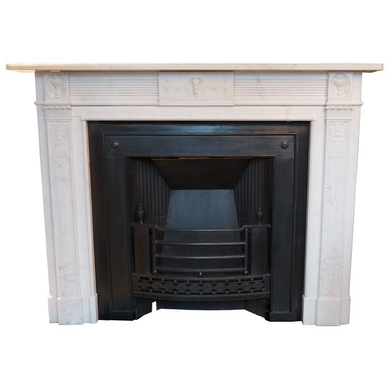 Irish antique Georgian Statuary White Marble Fireplace