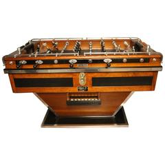 Mid-Century French Black and Brown Wood Foosball Table