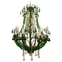 Louis XV Style Bronze Candelabra with Glass Drops, 20th Century