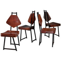 Set of Four Pine and Iron Chairs, France, 1950s