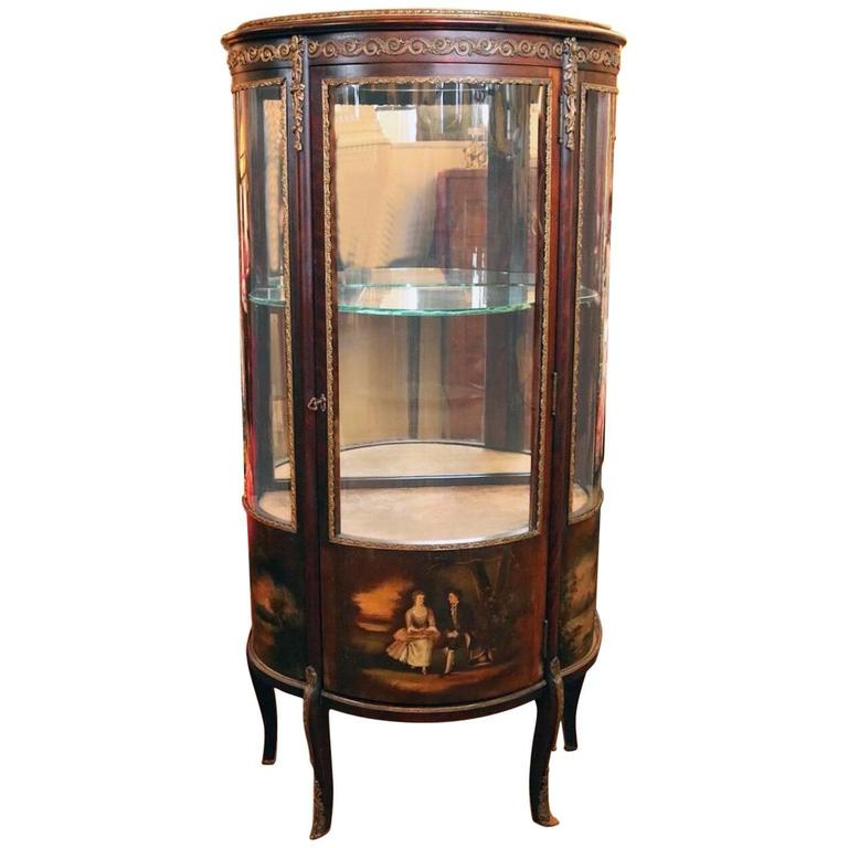 Antique French Louis XV Style Vernis Martin Mahogany and Ormolu Vitrine