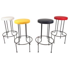 Set of Vintage Wrought Iron Bar Stools by Frederick Weinburg