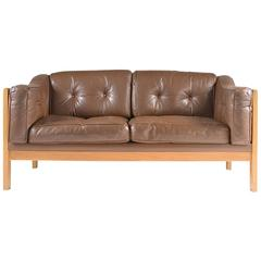 "Swedish Oak and Brown Leather Sofa ""Monte Carlo"", 1965"
