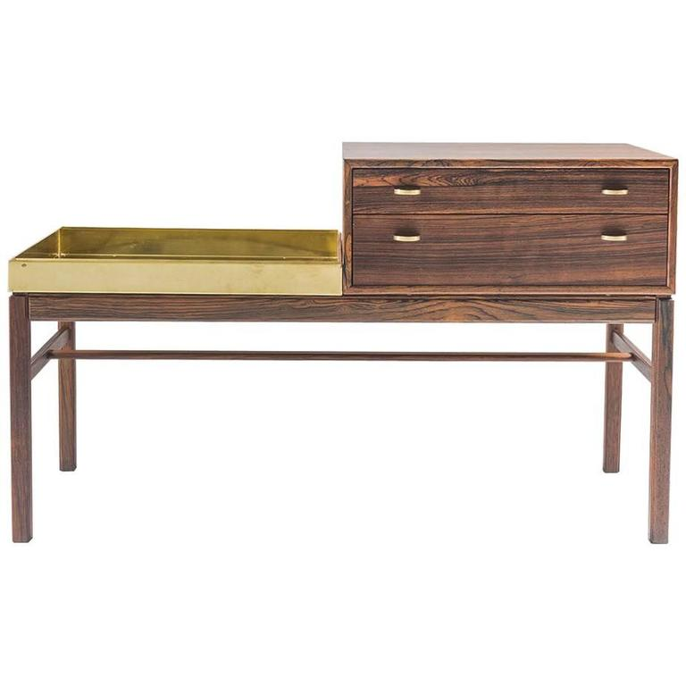 """Scandinavian Flower Table """"Casino"""" in Rosewood and Brass by Engström & Myrstrand"""