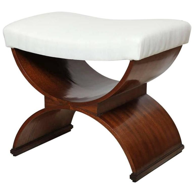 Lee Calicchio Ltd. Mahogany Curule Shaped Bench