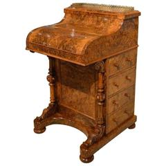"Burr Walnut Victorian Period Antique ""Pop Up"" Davenport"