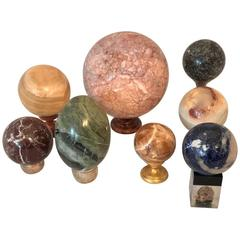 Set of Eight Organic Marble Balls, Italian, circa 1950s