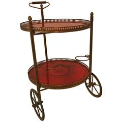 Italian 1940s Dry Cart in Brass and Decorative Red Glass