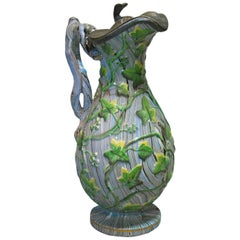 Rare Staffordshire Agateware Pitcher with Pewter Lid, circa 1840