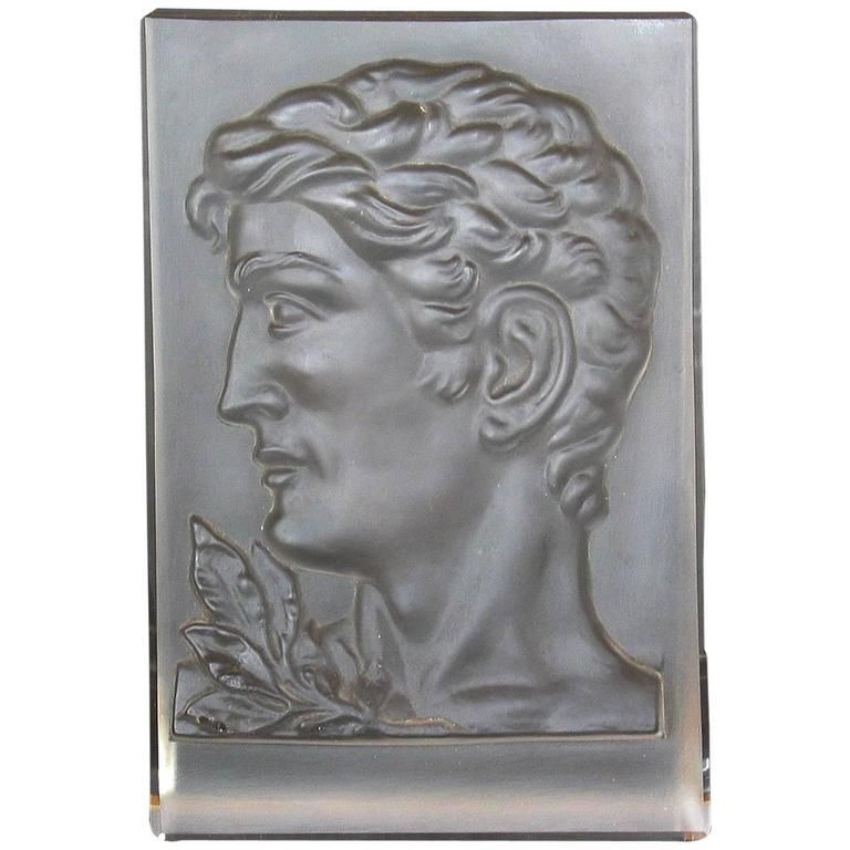 Art Deco Molded Glass Plaque in the Manner of Rudolf Hlousek