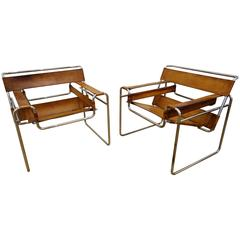 Pair of Marcel Breuer Wassily Chair by Gavina, Fantastic Patina, 1962-1965