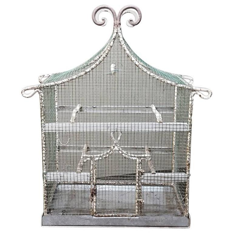 19th Century French Antique Wire Pagoda Shape Birdcage, Painted White