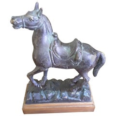 "American School Bronze Prancing Horse, Titled ""Empty Saddle"", circa 1900"
