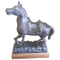 "American School Bronze Prancing Horse, Titled ""Empty Saddle"", circa 1900"