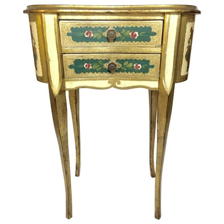 Florentine Italian Painted Table Or Chest With Drawers For
