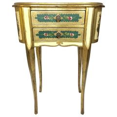 Florentine Italian Painted Table or Chest with Drawers for Bedside or Vanity