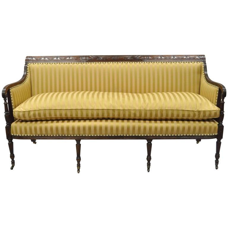 19th C Classical American Federal Cornucopia Carved Mahogany Sheraton Style Sofa For Sale
