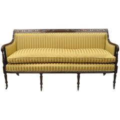 19th Century Classical American Federal Carved Mahogany Sheraton Style Sofa